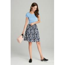 ladies printed viscose mid length casual skirt