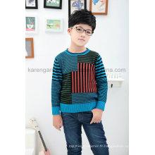 Karen - Pull à manches longues en tricot de couleur contrastée pour enfants