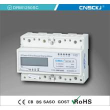 Medidor de energía electrónico activo de carril DIN trifásico