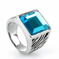 Titanium Steel Signet Diamond Ring jari