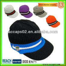 Peaked knitted hat winter beanie hat with brim BN-2653