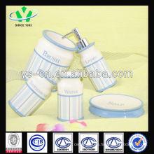 2014 Nuevos Productos Blue Modern Ceramic Bath Set With Decal Pattern