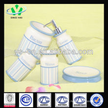 2014 New Products Blue Modern Ceramic Bath Set With Decal Pattern