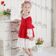 high quality Christmas dress with white lace for girls