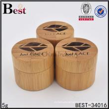 cosmetic bamboo jars in stock custom logo plastic cream jars 5g 10g 20g 100g bamboo wood jar cosmetic packaging