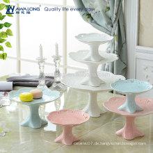Blaue und rosafarbene Malerei reine Farbe Heiße Verkaufs-Frucht-Salat-Platte, einfache keramische Frucht-Platten