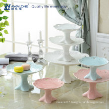 Blue And Pink Painting Pure Color Hot Sale Fruit Salad Plate, Plain Ceramic Fruit Plates