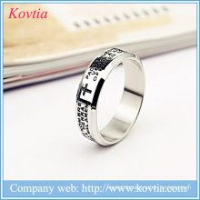 White gold men rings stainless steel jewelry cross bible letter ring