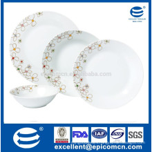 high class quality home and resturant use ceramic tableware fine porcelain dinner set 19pcs/24pc with simple flower design