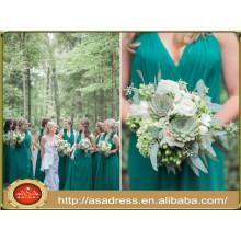 ABD02 tamaño más piso de longitud de la muchacha vestidos de novia Halter Floral verde gasa vestidos de dama de honor