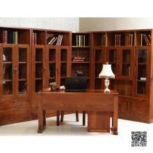 Glass Door Wooden Book Cabinet (001)