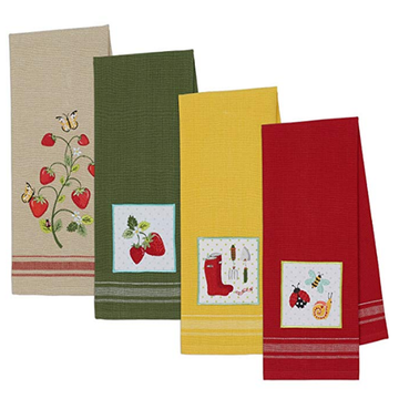Towels Kitchen Cotton Embroidered Warna Pepejal