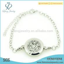 Top sale essential oil diffuser locket bracelet,flower perfume locket pearl bracelets chain