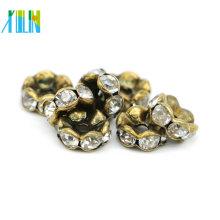 Excellent Quality IA0203 Nickel Black Plating Charm Rhinestone Slider Rondelles Spacer Beads