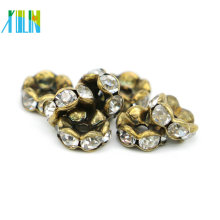 Excelente Qualidade IA0203 Nickel Black Plating Charme Rhinestone Slider Rondelles Spacer Beads