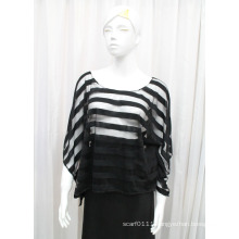 Lady Fashion Stripe Polyester Knitted Spring Hollow Shirt (YKY2211)