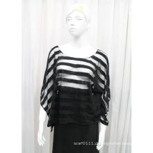 Senhora Moda Stripe Poliéster Malha Primavera Hollow Shirt (YKY2211)