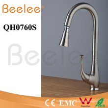 Brass Single Handle Brushed Nickle Pull Down Sink Kitchen Faucet