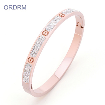 Berlian imitasi Stainless Steel Rose Gold Love Bangle Bracelet