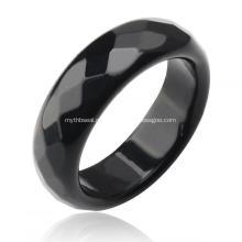Кольца с натуральными 6-миллиметровыми камнями из черного оникса с агатом