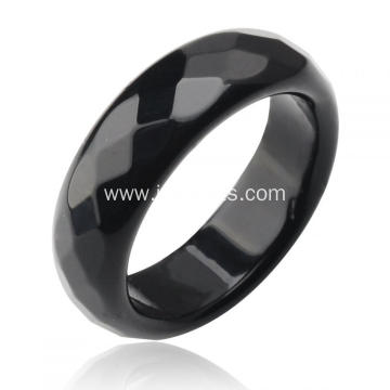 Natural 6MM Black Onyx Agate Gemstone Faceted Rings