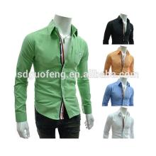 Chemise de mode italienne de luxe de style dernier, chemise formelle de coton organique