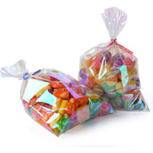 Iridescent Holographic Cellophane Party Wedding Gift Plastic Bags with Twist Ties Solid
