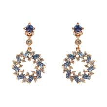 925 Sterling Silver Sapphire CZ Dangle Drop Earrings