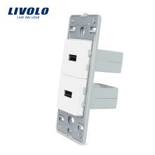 Livolo Двойной USB-порт для зарядного устройства без розетки из белого хрусталя Розетка 2.1A, 5V VL-C5-2U-11