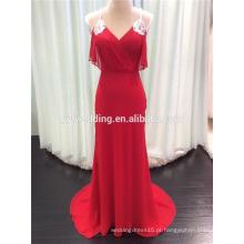 Atacado Spaghetti Straps V-Neck Crossed Back Beaded Long Design Red Chiffon Slim Evening Dress 2015 Vestidos Femininos C2