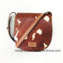 Promotional Ladies Fur Leather Handbags Women Genuine Hand Bag (NMDK-041102)