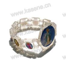 Watch Bracelet / Elastic Wood Saint Rosary Bracelet