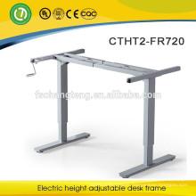 Hand cranked height adjustable laptop desk leg