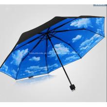 Guarda-chuva de dobramento triplo impresso completo relativo à promoção