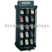 Custom Brand Logo Double Sided Counter Top Lockable Rotating Wood Acrylic Lighter Display Stand
