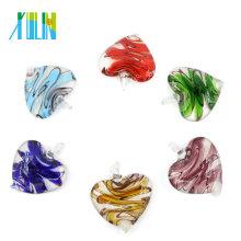 MC0024 Heart Colorful Lampwork Glass Pendants for Necklace Piece Hong Kong Fashions Jewelry Pendants