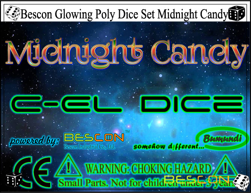Bescon Glowing Poly Dice Set Midnight Candy-6