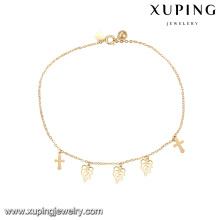 74959 atacado bestselling moda jóias design simples cruz e forma de folha tornozeleira com pequeno sino para senhoras