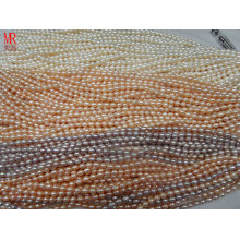 6-7mm AA Grade Rice Shape Pearl Strands, White, Pink, Lavender