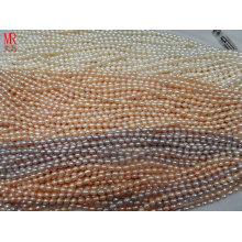 6-7mm AA Grade Rice Shape Pearl Strands, Branco, Rosa, Lavanda