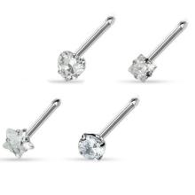 20G huesos del anillo de la nariz 4 formas conjunto de puntas CZ gem 316L Surgical Steel
