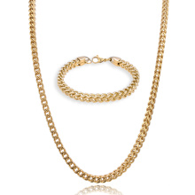 Punk Men's Stainless Steel 6mm 30inches Franco Chain and Bracelet Set Gold