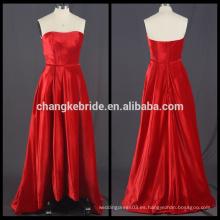 Vestido de noche rojo de terciopelo sin tirantes de las fotos verdaderas Vestido de bola alto bajo