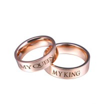 Simple Engagement Stainless Steel Rose Gold Design Couple Ring