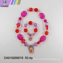 Contas de doces de plástico bonito colar de jóias infantil