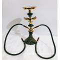 Double tube black glass hookah