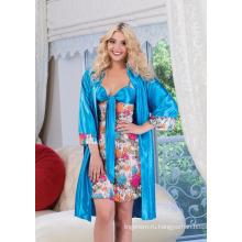 Кружевная сорочка и халат с цветочным Набивным