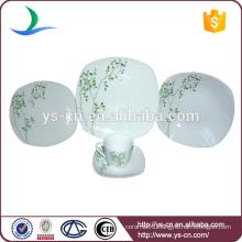 Square Ceramic Dinnerware With Green Design