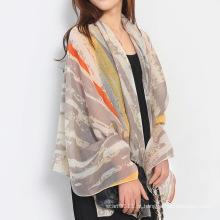 Senhora moda stripe impresso algodão lenço de seda (yky1138)