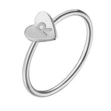 Hot Women Jewelry Heart Shape A-Z Initial Alphabet Letter R J Little Finger Rings